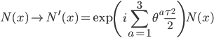 {\displaystyle N(x) \to N^{\prime}(x) = \exp\left(i\sum_{a=1}^3\theta^a\frac{\tau^2}{2}\right)N(x)}