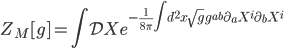 {\displaystyle Z_M[g] = \int\mathcal{D}Xe^{-\frac{1}{8\pi}\int d^2x\sqrt{g}g^{ab}\partial_aX^i\partial_bX^i}}