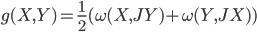 {\displaystyle g(X,Y) = \frac{1}{2}(\omega(X,JY) + \omega(Y,JX))}