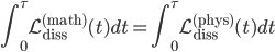 {\displaystyle\int_0^{\tau}\mathcal{L}_{\mathrm{diss}}^{(\mathrm{math})}(t)dt = \int_0^{\tau}\mathcal{L}_{\mathrm{diss}}^{(\mathrm{phys})}(t)dt}