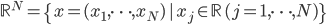 {\mathbb{R}^N = \{x = (x_1,\dots,x_N)\,|\,x_j \in \mathbb{R}\,(j = 1,\dots,N)\}}