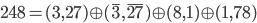 {\mathbf{248} = (\mathbf{3},\mathbf{27}) \oplus (\overline{\mathbf{3}},\overline{\mathbf{27}}) \oplus (\mathbf{8},\mathbf{1}) \oplus (\mathbf{1},\mathbf{78})}