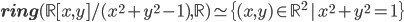 {\mathbf{ring}(\mathbb{R}[x,y]/(x^2 + y^2 - 1),\mathbb{R}) \simeq \{(x,y) \in \mathbb{R}^2\,|\, x^2 + y^2 = 1\}}