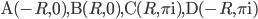 {\mathrm{A}(-R, 0), ~ \mathrm{B}(R, 0), ~ \mathrm{C}(R, \pi\mathrm{i}), ~ \mathrm{D}(-R, \pi\mathrm{i})}