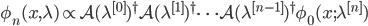 {\phi_n(x,\lambda) \propto \mathcal{A}(\lambda^{[0]})^{\dagger}\mathcal{A}(\lambda^{[1]})^{\dagger}\cdots\mathcal{A}(\lambda^{[n-1]})^{\dagger}\phi_0(x;\lambda^{[n]})}