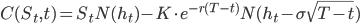 {C(S_t,t) = S_tN(h_t) - K \cdot e^{-r(T - t)}N(h_t - \sigma\sqrt{T - t})}