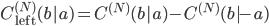 {C_{\mathrm{left}}^{(N)}(b|a) = C^{(N)}(b|a) - C^{(N)}(b|-a)}