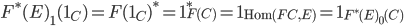 {F^{\ast}(E)}_{1}(1_{C}) = F(1_{C})^{\ast} = 1_{F(C)}^{\ast} = 1_{\text{Hom}(FC, E)} = 1_{{F^{\ast}(E)}_{0}(C)}