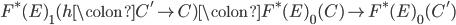 {F^{\ast}(E)}_{1}(h \colon C' \to C) \colon {F^{\ast}(E)}_{0}(C) \to {F^{\ast}(E)}_{0}(C')