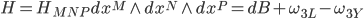 {H = H_{MNP}dx^M \wedge dx^N \wedge dx^P = dB + \omega_{3L} - \omega_{3Y}}