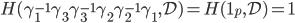 {H(\gamma_1^{-1}\gamma_3\gamma_3^{-1}\gamma_2\gamma_2^{-1}\gamma_1,\mathcal{D}) = H(\mathbf{1}_p,\mathcal{D}) = \mathbf{1}}