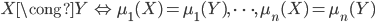 {X \cong Y \,\Leftrightarrow\, \mu_1(X) = \mu_1(Y),\,\cdots,\,\mu_n(X) = \mu_n(Y)}