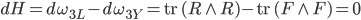 {dH = d\omega_{3L} - d\omega_{3Y} = \mathrm{tr}\,(R \wedge R) - \mathrm{tr}\,(F \wedge F) = 0}