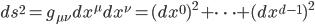 {ds^2 = g_{\mu\nu}dx^{\mu}dx^{\nu} = (dx^0)^2 + \cdots + (dx^{d-1})^2}