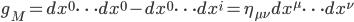 {g_M = dx^0\cdots dx^0 - dx^0\cdots dx^i = \eta_{\mu\nu}dx^{\mu}\cdots dx^{\nu}}