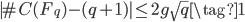 |\#C(F_q) - (q+1)| \le 2g \sqrt{q} \tag{1}