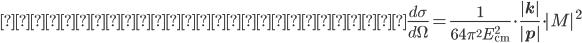 散乱の微分断面積:\frac{d\sigma}{d\Omega}=\frac{1}{64\pi^2E_{\rm cm}^2}\cdot\frac{|\bf{k}|}{|\bf{p}|}\cdot|M|^2