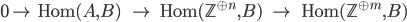 0 \to \ \ \ {\rm Hom}(A, B) \ \ \ \ \ \to \ \ \ \ \ {\rm Hom}(\mathbb{Z}^{\oplus n}, B) \ \ \ \ \to \ \ \ \ \ \ {\rm Hom}(\mathbb{Z}^{\oplus m}, B)