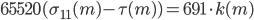 65520(\sigma_{11}(m) - \tau(m)) = 691\cdot k(m)