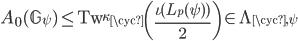 A_0(\mathbb{G}_{\psi}) \leq {\rm Tw}_{\kappa_{\cyc}}\left(\frac{\iota(L_p(\psi))}{2}\right) \in \Lambda_{\cyc, \psi}