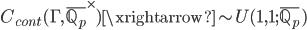 C_{cont}(\Gamma, \overline{\mathbb{Q}_p}^\times) \xrightarrow{\sim} U(1,1; \overline{\mathbb{Q}_p})