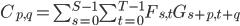 C_{p, q} = \sum_{s = 0}^{S - 1} \sum_{t = 0}^{T - 1} F_{s, t} G_{s + p, t + q}