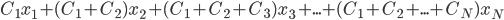 C_1 x_1 + (C_1+C_2)x_2 + (C_1+C_2+C_3)x_3 + ... + (C_1+C_2+...+C_N)x_N