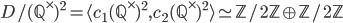 D/(\mathbb{Q}^\times)^2 = \langle c_1(\mathbb{Q}^\times)^2 , c_2(\mathbb{Q}^\times)^2 \rangle \simeq \mathbb{Z}/2\mathbb{Z} \oplus \mathbb{Z}/2\mathbb{Z}