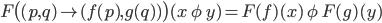 F \big( (p, q) \mapsto (f(p), g(q) ) \big)(x\ \phi\ y) = F(f)(x)\ \phi\ F(g)(y)