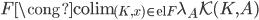 F \cong \operatorname{colim} _ {(K,x) {\in} \operatorname{el}F} \lambda _ A \mathcal{K}(K,A)