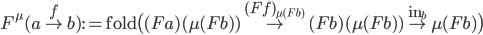 F ^ \mu (a \overset{f}{\to} b) := \mathtt{fold} \big( (Fa)(\mu(F b)) \overset{(Ff) _ { \mu(Fb) } }{\to} (Fb)(\mu(Fb)) \overset{\mathtt{in} _ b}{\to} \mu(Fb) \big)