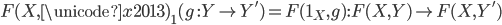 F(X, \unicode{x2013}) _ 1(g\ : Y \rightarrow Y') = F(1 _ X, g) : F(X, Y) \rightarrow F(X, Y')