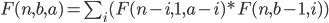 F(n,b,a) = \sum_i (F(n-i,1,a-i)*F(n,b-1,i))