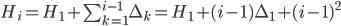 H_i = H_1 + \sum_{k=1}^{i-1} \Delta_k = H_1 + (i-1)\Delta_1 + (i-1)^2