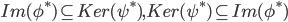 Im(\phi^*) \subseteq Ker(\psi^*) , Ker(\psi^*) \subseteq Im(\phi^*)