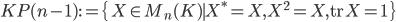 KP(n-1) := \{ \, X \in M_n(K) \mid X^* = X, X^2 = X, {\rm tr}\, X = 1\, \}