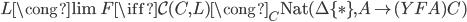 L \cong \lim F \iff \mathcal{C}(C, L) \cong _ C \text{Nat}(\Delta \lbrace \ast \rbrace, A \mapsto (YFA)C )