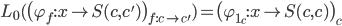 L _ 0( \big( \varphi _ {f} : x \rightarrow S(c, c') \big) _ {f : c \rightarrow c'} ) = \big(\varphi _ {1 _ c} : x \rightarrow S(c, c) \big) _ c