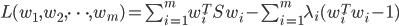 L(w_1, w_2, \cdots, w_m) = \sum_{i=1}^{m} w_i^T S w_i - \sum_{i=1}^{m} \lambda_i (w_i^T w_i - 1)