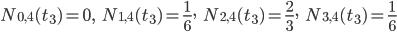N_{0,4}(t_{3})=0,\hspace{5pt} N_{1,4}(t_{3})=\frac{1}{6},\hspace{5pt} N_{2,4}(t_{3})=\frac{2}{3},\hspace{5pt} N_{3,4}(t_{3})=\frac{1}{6}