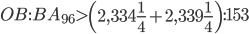 OB:BA_{96} > \left(2,334\frac{1}{4} + 2,339\frac{1}{4}\right):153