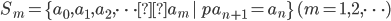 S_m=\{a_0, a_1, a_2, \cdots a_m\, | \, pa_{n+1}=a_n\} \, (m=1, 2, \cdots )