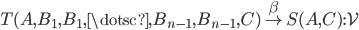 T(A,B _ 1,B _ 1,\dotsc,B _ {n-1}, B _ {n-1}, C) \overset{\beta}{\to} S(A,C) : \mathcal{V}