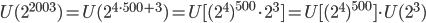 U(2^{2003})=U(2^{4\cdot 500+3})=U[(2^4)^{500}\cdot 2^3]=U[(2^4)^{500}]\cdot U(2^3)