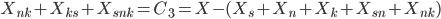 X_{nk} + X_{ks} + X_{snk} = C_3 = X -(X_s + X_n + X_k + X_{sn} + X_{nk})