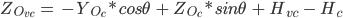 Z_{O_{vc}}\ =\ -Y_{O_{c}}*cos\theta\ +\ Z_{O_{c}}*sin\theta\ +\ H_{vc}\ -\ H_{c}