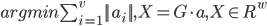 argmin \sum_{i=1}^v ||a_i || , X = G \cdot a , X\in R^w
