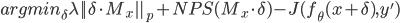 argmin_\delta \lambda ||\delta \cdot M_x||_p + NPS(M_x \cdot \delta) - J(f_\theta(x+\delta),y')