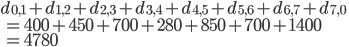 d_{0,1}+d_{1,2}+d_{2,3}+d_{3,4}+d_{4,5}+d_{5,6}+d_{6,7}+d_{7,0}\\\ = 400+450+700+280+850+700+1400 \\\ =4780