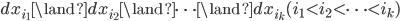 dx_{i_1} \land dx_{i_2} \land \cdots \land dx_{i_k} (i_1 < i_2 < \cdots < i_k)